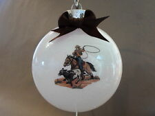 "Handmade ""Cowboy Scene"" 4"" Round Acrylic Christmas Ornament~Made In The USA, NEW"