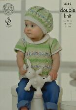 KNITTING PATTERN Baby's Short Sleeve Top with Contrast Collar Beret DK KC 4312