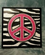 HOT PINK and ZEBRA print wood peace sign wall art decor-60's look!!