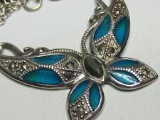 """Sterling Silver Blue Plique a Jour Marcasite Butterfly Pendant Necklace 16"""""""