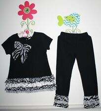 Emily Rose Boutique Zebra Ruffles Tunic Top Leggings Set Black White Girl Size 5