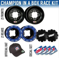 "DWT Blue Champion in a Box 10"" Front 8"" Rear Rims Beadlocks Rings TRX 400X"
