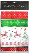 Christmas Table Cloth Wipe Clean Xmas Snowflake Red Silver Gold Cover PVC Plates