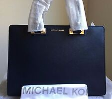 NWT MICHAEL MICHAEL KORS  Quinn Large Saffiano Leather Satchel in Navy/Gold $378