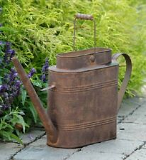 Primitive Country Rustic Rusty Vintage Oblong Watering Can With Wood Handle