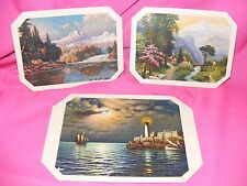 Set of 3 Vintage Table Coaster Mats with Scenic Pictures