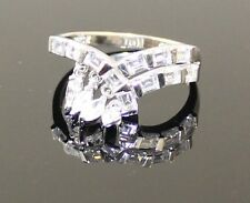 Signed Ross Simmons Sterling Silver Elegant Dangling Marquise CZ Ladies Ring
