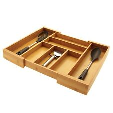Bamboo Expandable Kitchen Cutlery Tray, Drawer Inserts Organiser