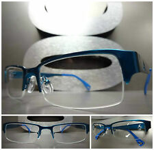 SLEEK CONTEMPORARY MODERN Style Clear Lens EYE GLASSES Cool Blue Fashion Frame