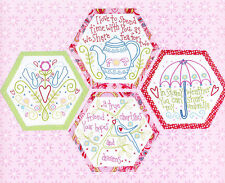 Best Friends Forever 1 - stitchery BOM hexagons - PATTERN + preprinted fabric