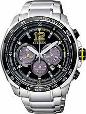 Citizen Eco-Drive Steel Mens Chronograph Watch. Sporty. Look Sharp. CA4234-51E