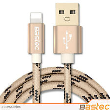 Bastec - 8 Pin Metal Braided Wire Sync. Data Charger USB Cable for iPhone - GOLD