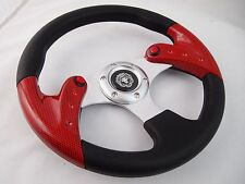 """1984+ CLUB CAR DS CARBON 12.5"""" steering wheel golf cart With Chrome Adapter"""