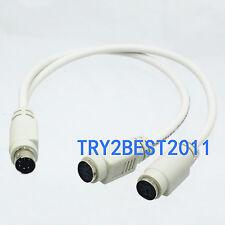 PS/2 (6 Pin Mini-Din) Y Splitter Male - Female - Female Computer Cable