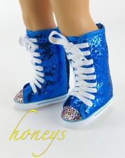 For American Girl &Bitty Twin Clothes BLUE GLITTER HIGHTOP SNEAKER TENNIS SHOES