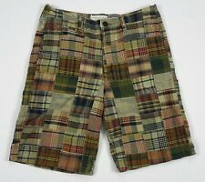 American Eagle Mens Longer Length Camo Plaid Patchwork Oxford Shorts 32