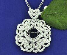 LADIES 18K DIAMOND SEMI MOUNT PENDANT WHITE GOLD 2.40 CT  BEAUTIFUL DESIGN