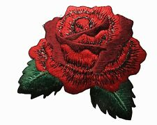 "#5061 2-5/8"" Red Rose Flower Embroidery Iron On Applique Patch"