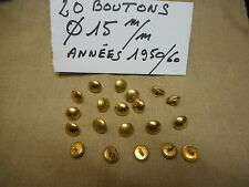 20 BOUTONS MILITAIRES METALLIQUES DORES Diamètre 15 mm FRENCH MILITARY BUTTON