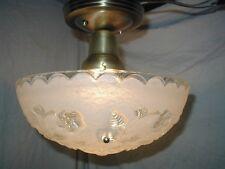 VTG 30S ART DECO white vine floral SHADE GLASS 3 CHAIN chandelier LIGHT FIXTURE