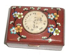 OLD 19TH CENTURY CHINESE FLORAL CLOISONNE ENAMEL WHITE JADE HUMIDOR JAR BOX