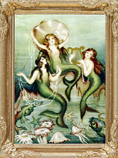 MERMAIDS & OYSTER & PEARLS Dollhouse FRAMED Picture - MADE IN AMERICA