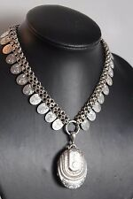 Authentic Victorian sterling silver locket and bookchain, hallmarked, 1881
