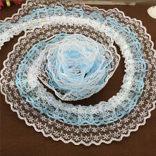 New 5Yrds 3-layer 45MM Width SkyBlue Pleated Trim Ripple Printing Lace Trim JN03