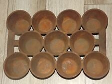 ANTIQUE CAST IRON POPOVER BAKING PAN CUPCAKE CORNBREAD MUFFIN MARKED B NO. 01 #1