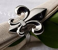 NR-214 Brass Napkin Rings for Dinners, Parties, Set of 4,Silver Fleur De Lis