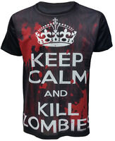 Keep Calm and Kill Zombies Bloody  Mens Black Sublimation T-Shirt New Top Tee