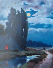 Old Cottage in Dark Full Moon Light by  by R Atkinson Fox