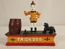 Cast Iron Bank Trick Dog Clown Circus Mechanical Bank Whimsical Missing Hoop