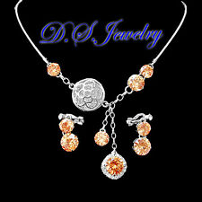 Champagne & Clear Swarovski Crystal Rhinestones Necklace & Earrings Clip On Set