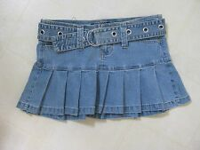 Adorable Pleated Mini Jean Skirt by Angels / Belt, Pockets, Stretch / 5 / BNWOT