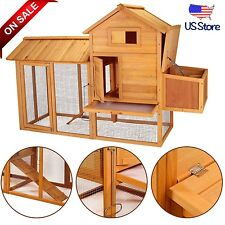 """83"""" Chicken Coop Hen House Rabbit Hutch Wood Pet Animal Poultry Cage w/ Nest NEW"""