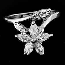 jewelry Womens Ring Clear Crystal Flower Leaf 14K White Gold Plated Size 7.5