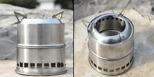 Portable Stainless Steel Wood Stove Stove Outdoor Cooking Picnic Camping T4H9