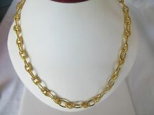 Women's Shinny 14k  Gold Plated Bronze Links   Intertwined Necklace 20 Inches