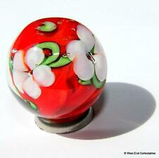 22mm Scarlet Bloom Glass Art Toy Marble +Stand-Handmade Collectors Piece Marbles
