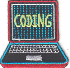 """CODING"" PATCH-Iron On Embroidered  Patch/School, Learning, Research"