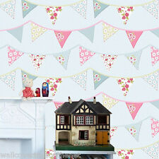 Childrens, Fabric Flags / Bunting, Applique Style Wallpaper, Blue Background