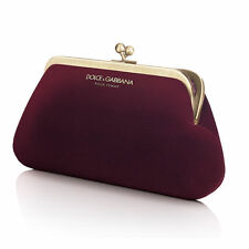 DOLCE GABBANA D&G RED GOLD MAROON VELVET LADIES PURSE EVENING CLutch BAG