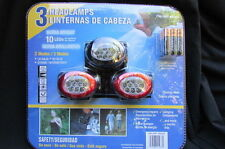 New 3 Safety Head Lamps Ultra Bright 10 Leds 3 Modes + 9 AAA Duracell Batteries