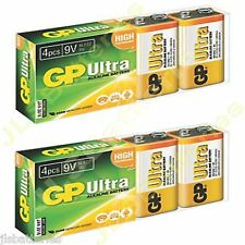 8 x GP ULTRA 9V Batteries MN1604 6LR61 PP3 BLOCK 6LF22 ALKALINE