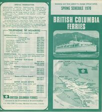 1970 British Columbia Ferry Schedule Travel Brochure Canada Victoria Ferries