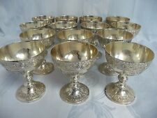 FOURTEEN VTG. CORBELL & CO. SILVER PLATE CHAMPAGNE GLASSES W/ORNATE CREST/GRAPES