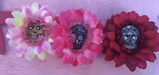 Qty Of 3 Daisy Hair Flower Clip Colorful 2 1/2 Inch Women's Hair Accessory Skull
