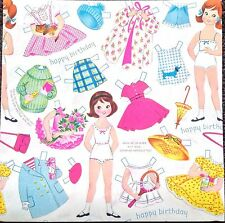 Vintage Paper Doll Gift Wrap, 1 Full Sheet, 1950's Era, Little Girl & Clothes