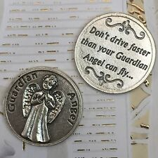 Guardian Angel Pocket Token Coin Safe Travel Prayer Don't Drive Faster than your